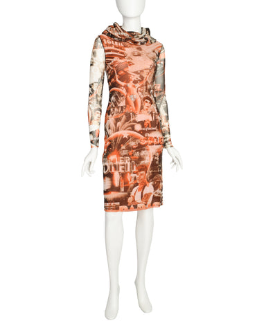 Jean Paul Gaultier Vintage Paris Cinema Brown Red Orange Mesh Dress