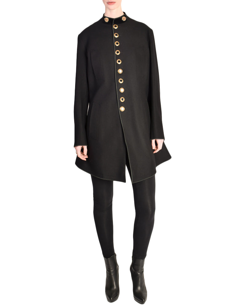 Jean Paul Gaultier Vintage Iconic Black Wool Military Inspired Coat Jacket