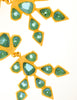 Gavilane Vintage Massive Oversized Gold and Seafoam Glass Earrings