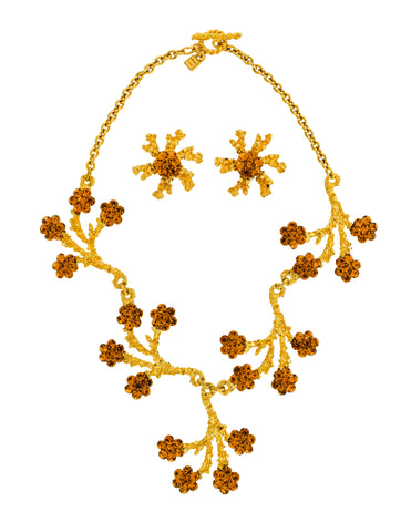 Gavilane Vintage Gold Branch and Flower Necklace and Earrings Set