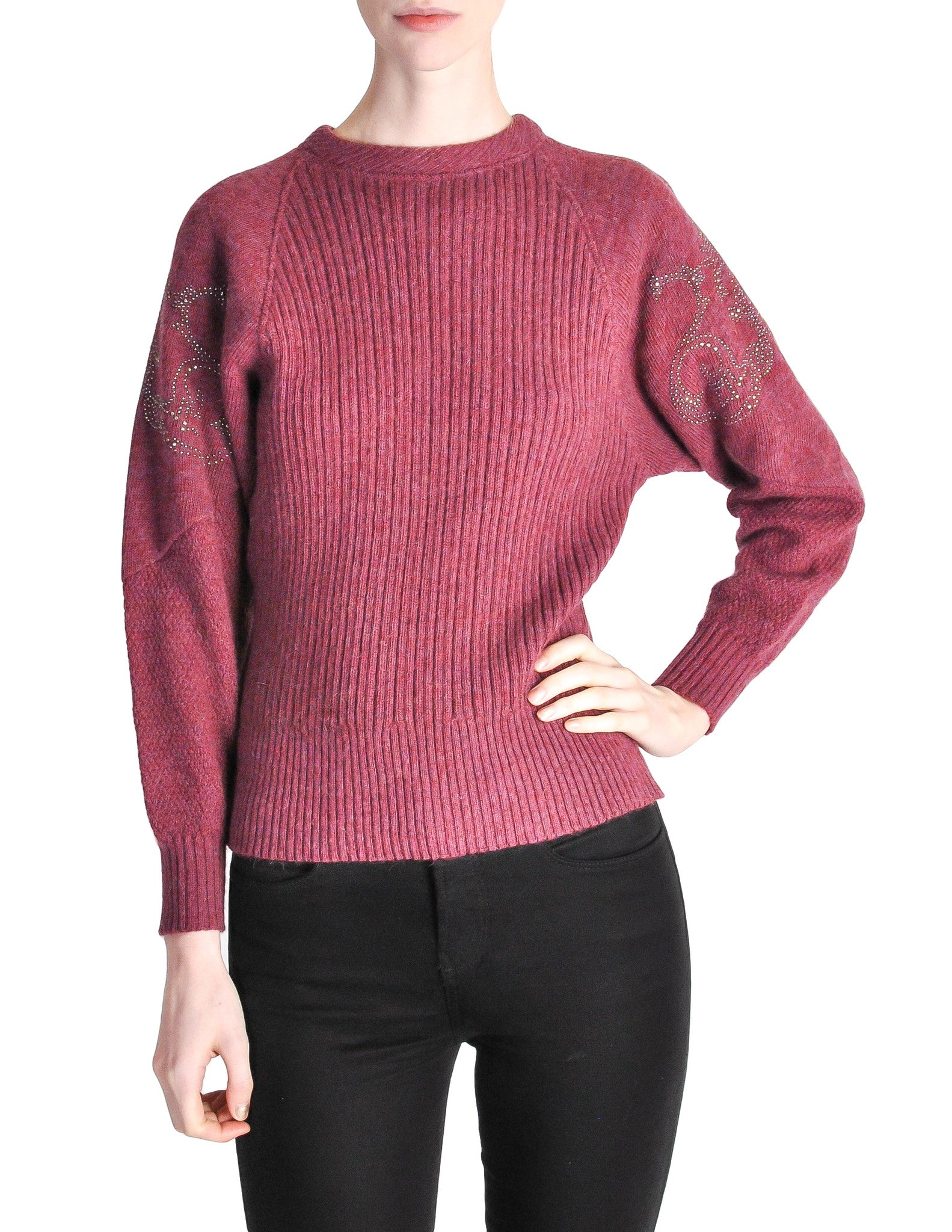 Versace Vintage Purple Sweater with Studded Sleeves - Amarcord Vintage Fashion  - 1