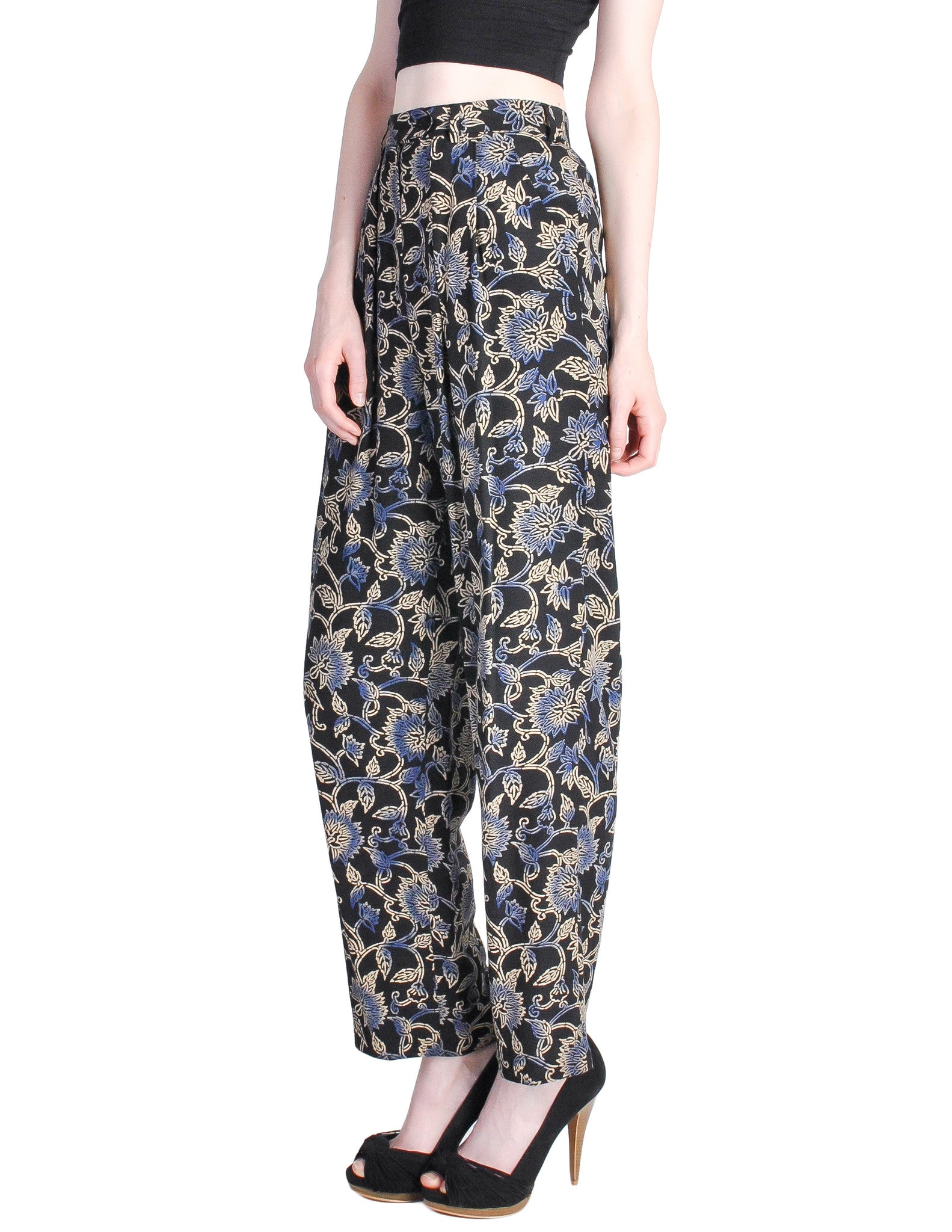 Armani Vintage Black Silk Floral High Waist Pants - Amarcord Vintage Fashion  - 1