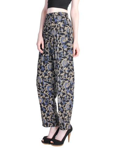 Armani Vintage Black Silk Floral High Waist Pants