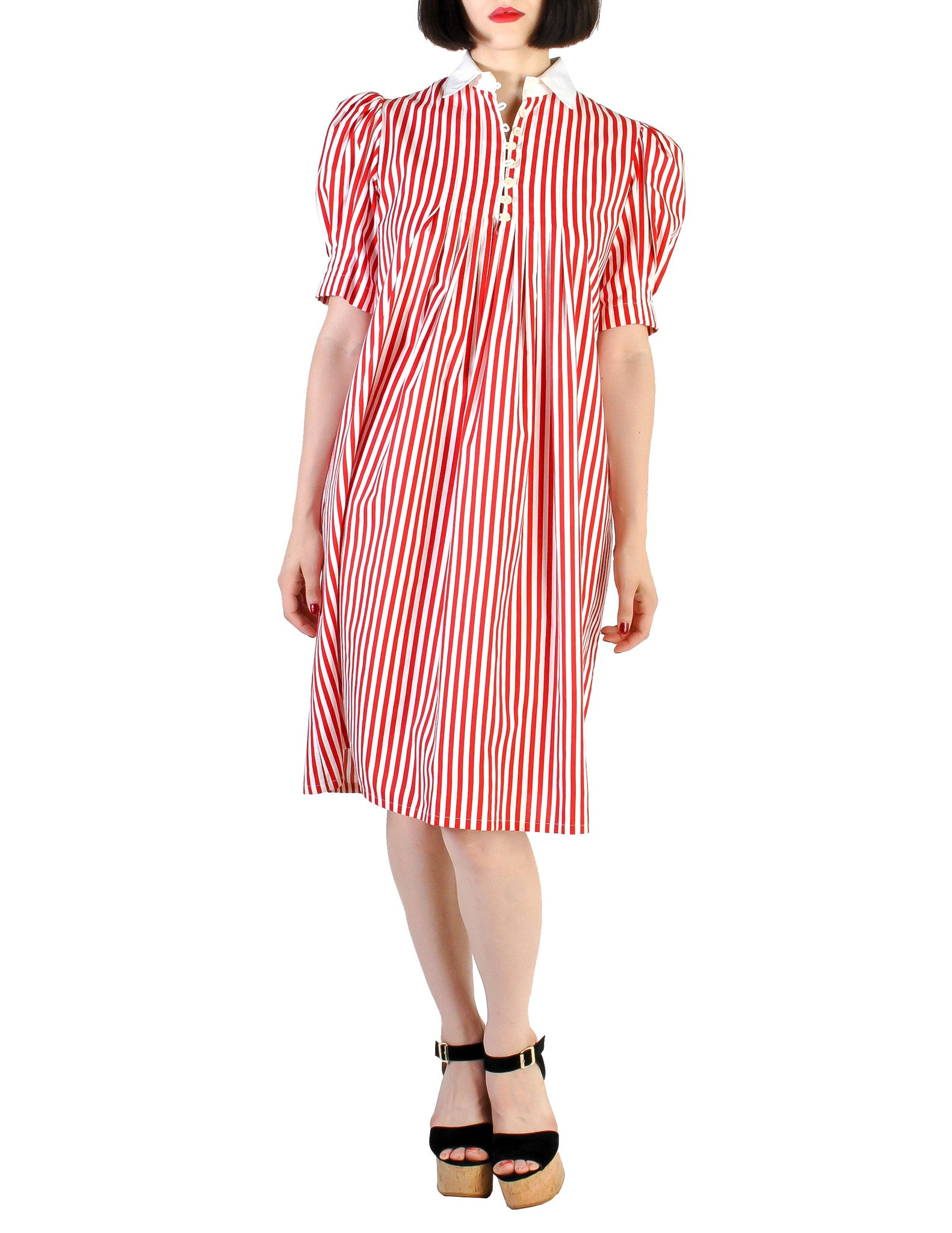 Giorgio Sant'Angelo Vintage Red & White Striped Dress - Amarcord Vintage Fashion  - 1