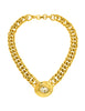 Givenchy Vintage Oval Rhinestone Gold Chain Collar Necklace
