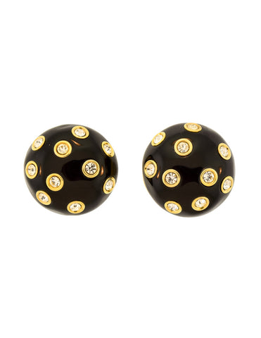 Givenchy Vintage Black & Gold Rhinestone Bauble Earrings