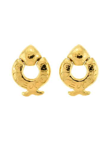 Givenchy Vintage Gold Dangle Fish Earrings