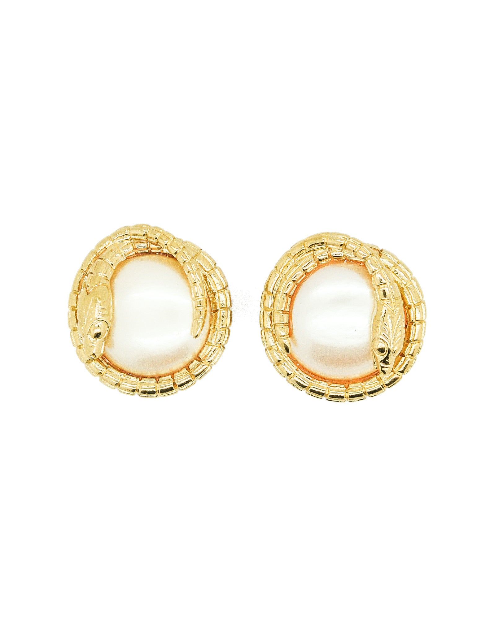 Givenchy Vintage Gold Snake Pearl Earrings - Amarcord Vintage Fashion  - 1