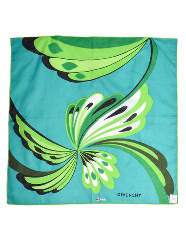 Givenchy Vintage Green Floral Cotton Scarf
