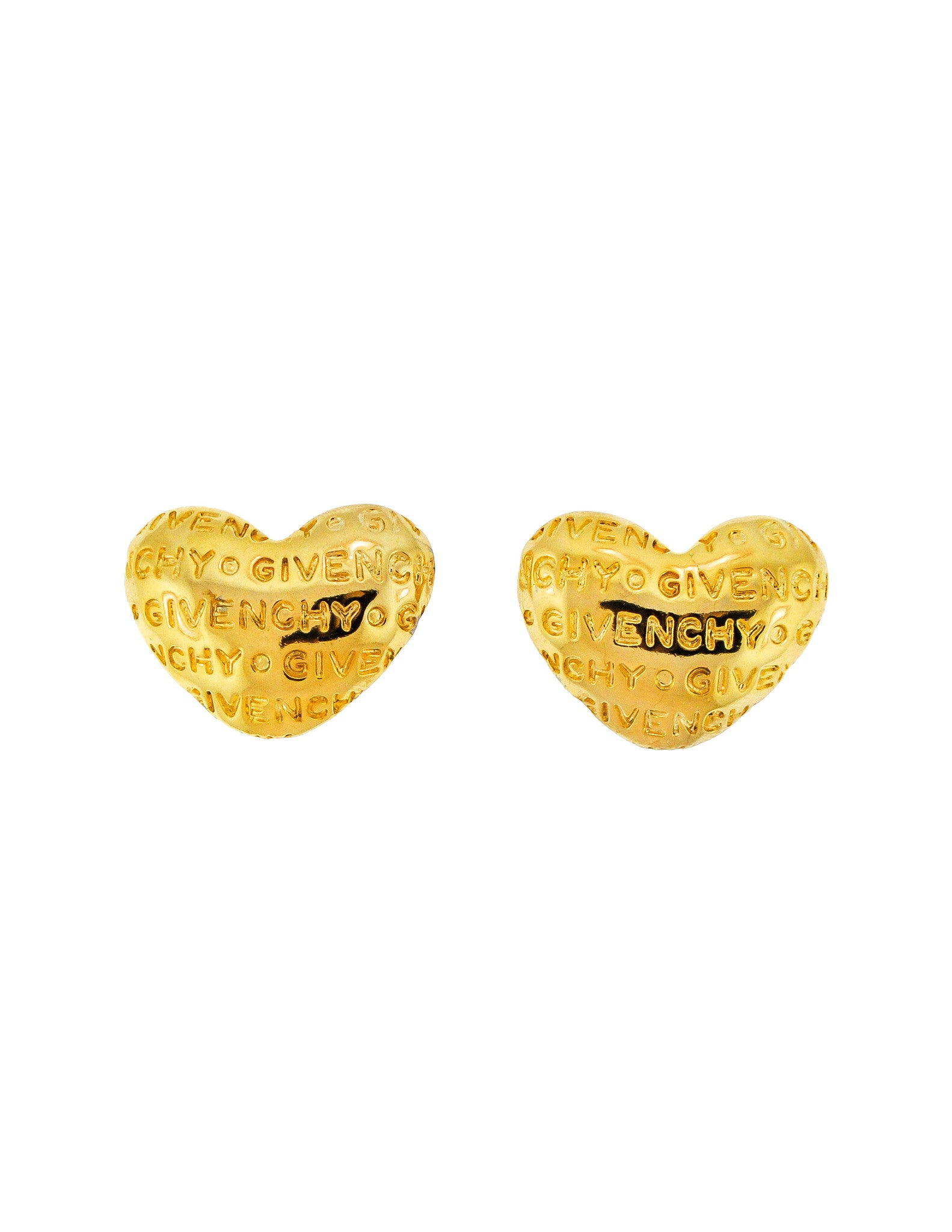 Givenchy Vintage Gold Namesake Heart Earrings - Amarcord Vintage Fashion  - 1