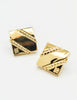 Givenchy Vintage Gold Square Logo Earrings - Amarcord Vintage Fashion  - 3