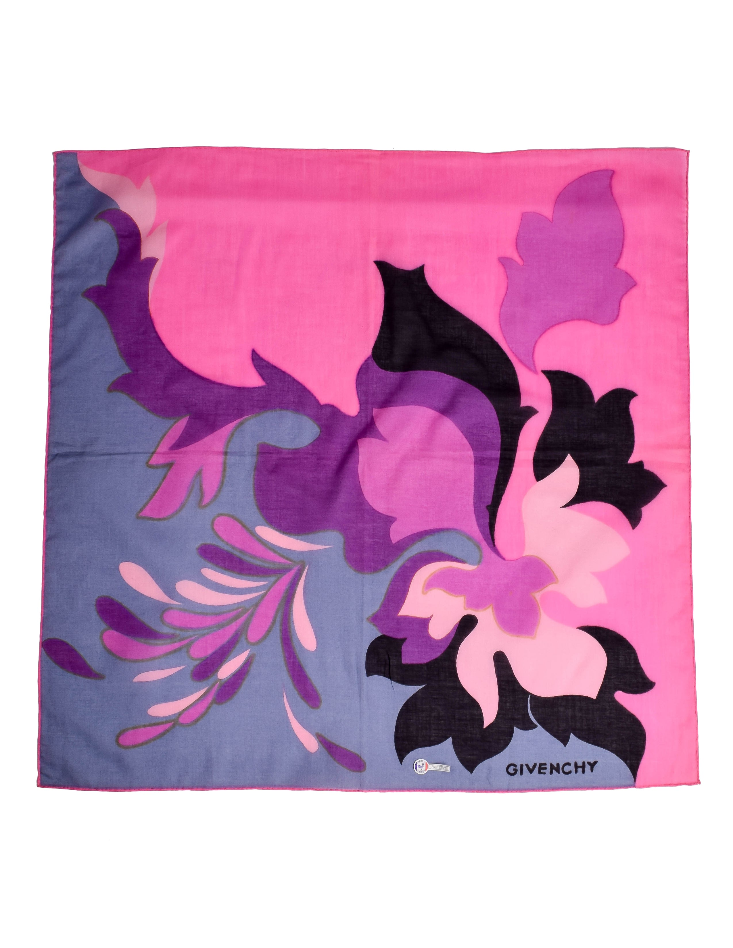 Givenchy Vintage Pink Floral Cotton Scarf