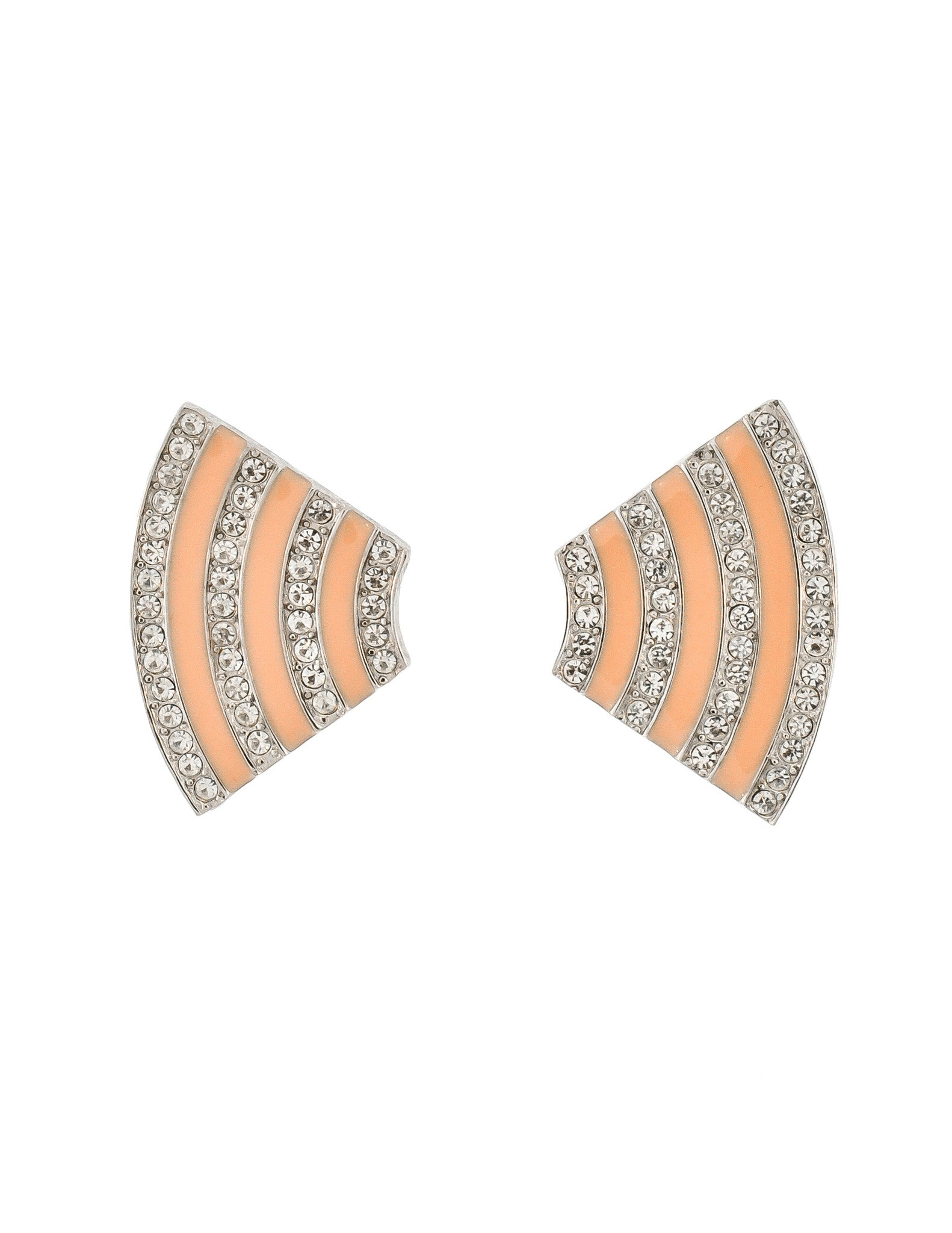 Givenchy Vintage Pale Pink Enamel Silver Rhinestone Earrings - Amarcord Vintage Fashion  - 1