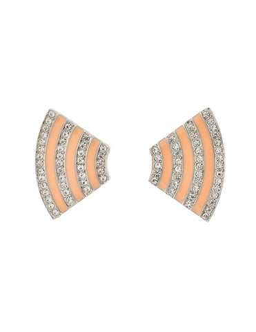 Givenchy Vintage Pale Pink Enamel Silver Rhinestone Earrings
