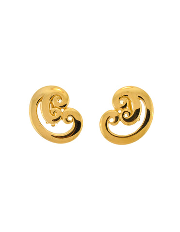 Givenchy Vintage Gold Swirl Earrings