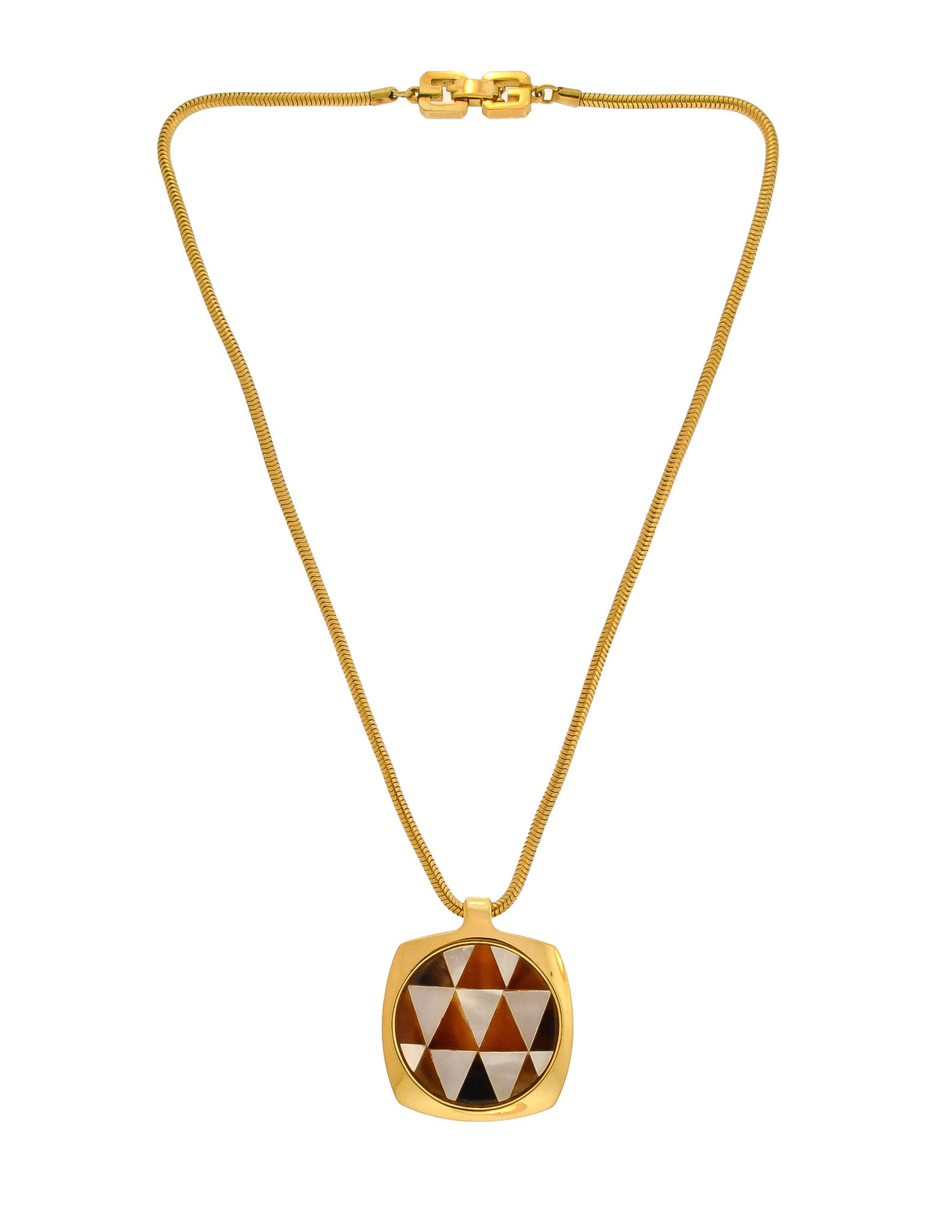 Givenchy Vintage Triangle Inlay Gold Necklace - Amarcord Vintage Fashion  - 1