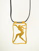 Givenchy Vintage Gold Female Silhouette Pendant Leather Necklace