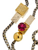 Mawi Vintage Gunmetal Silver Gold Pink Gem Geometric Box Link Sautoir Necklace