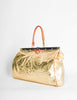 Vintage 1980s Embossed Gold Metallic Weekender Bag - Amarcord Vintage Fashion  - 2