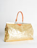 Vintage 1980s Embossed Gold Metallic Weekender Bag - Amarcord Vintage Fashion  - 3