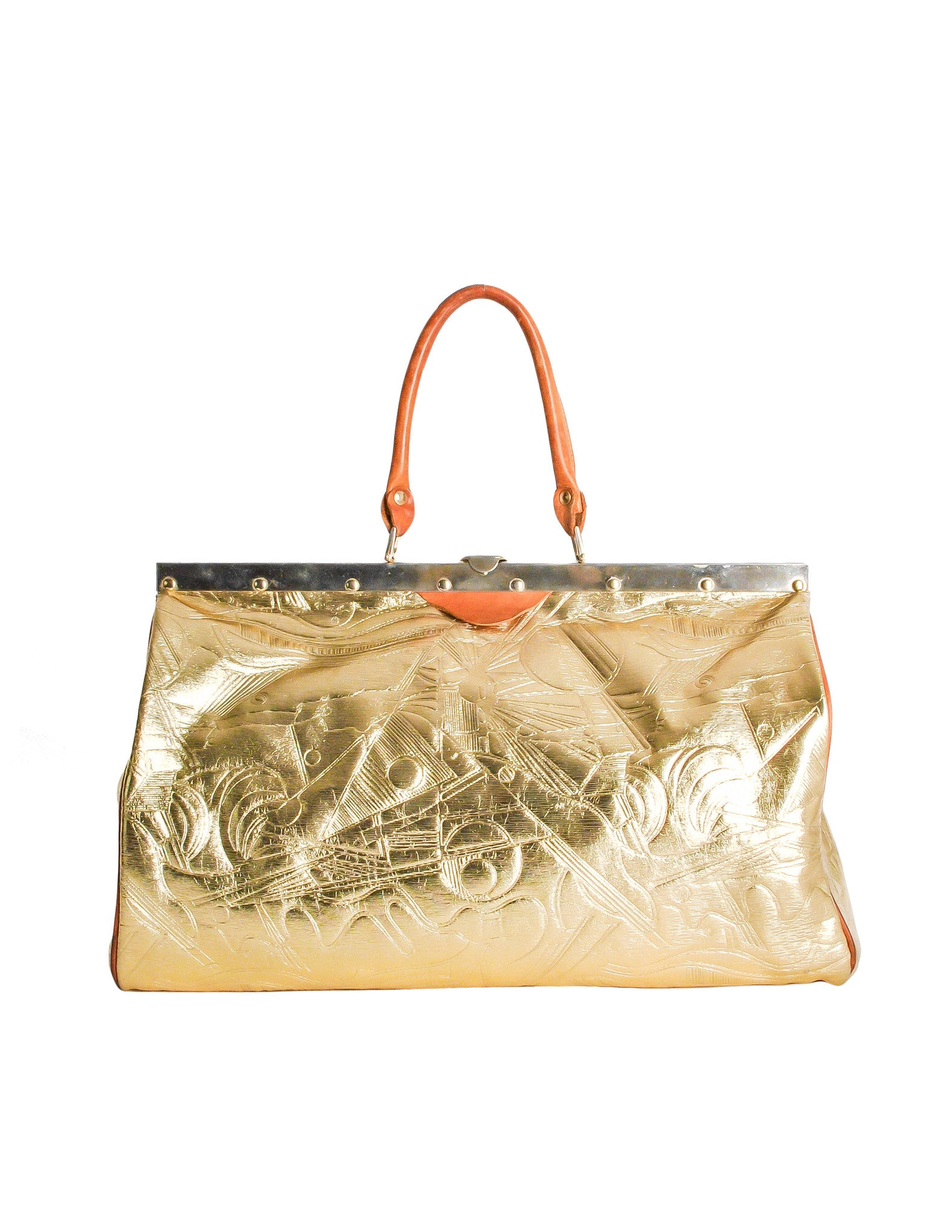 Vintage 1980s Embossed Gold Metallic Weekender Bag - Amarcord Vintage Fashion  - 1
