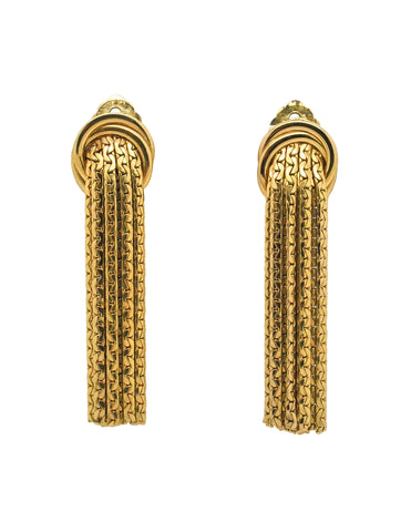 Grosse Vintage Gold Tassel Fringe Earrings