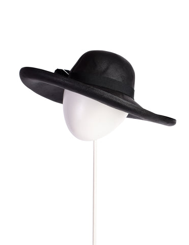 Gucci Vintage Black Feather Wide Brim Straw Hat