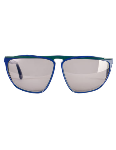 Gucci Vintage 1980s Green Blue Keyhole Notch GG61 Sunglasses