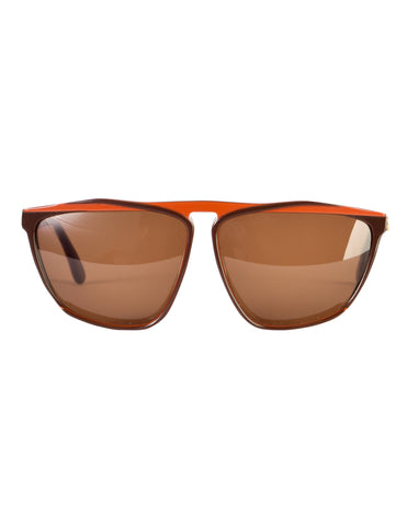 Gucci Vintage 1980s Brown Orange Keyhole Notch GG61 Sunglasses