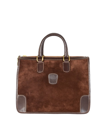 Gucci Vintage 1970s Brown Suede and Leather Top Handle Bag