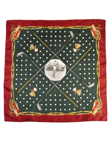 Gucci Vintage Golf Theme Red Green Gold Silk Scarf