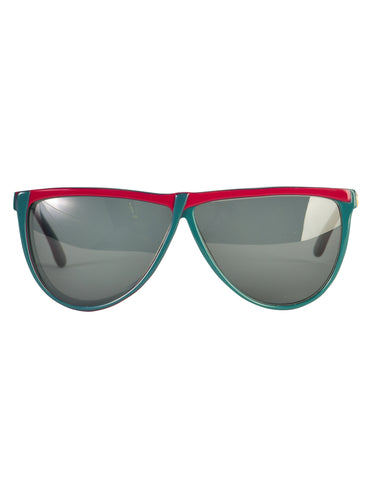 Gucci Vintage 1980s Green Red GG62 Sunglasses