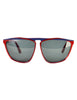 Gucci Vintage 1980s Burgundy Blue Keyhole Notch GG61 Sunglasses