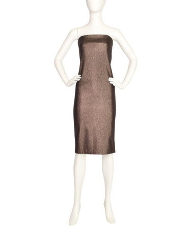 Gucci Vintage 1997 Tom Ford Era Bronze Metallic Lurex Strapless Tube Dress