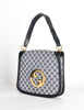Gucci Vintage Blondie Navy Blue Monogram Logo Medallion Handbag - Amarcord Vintage Fashion  - 2