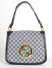 Gucci Vintage Blondie Navy Blue Monogram Logo Medallion Handbag - Amarcord Vintage Fashion  - 3