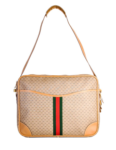 Gucci Vintage Monogram Carry On Messenger Travel Bag