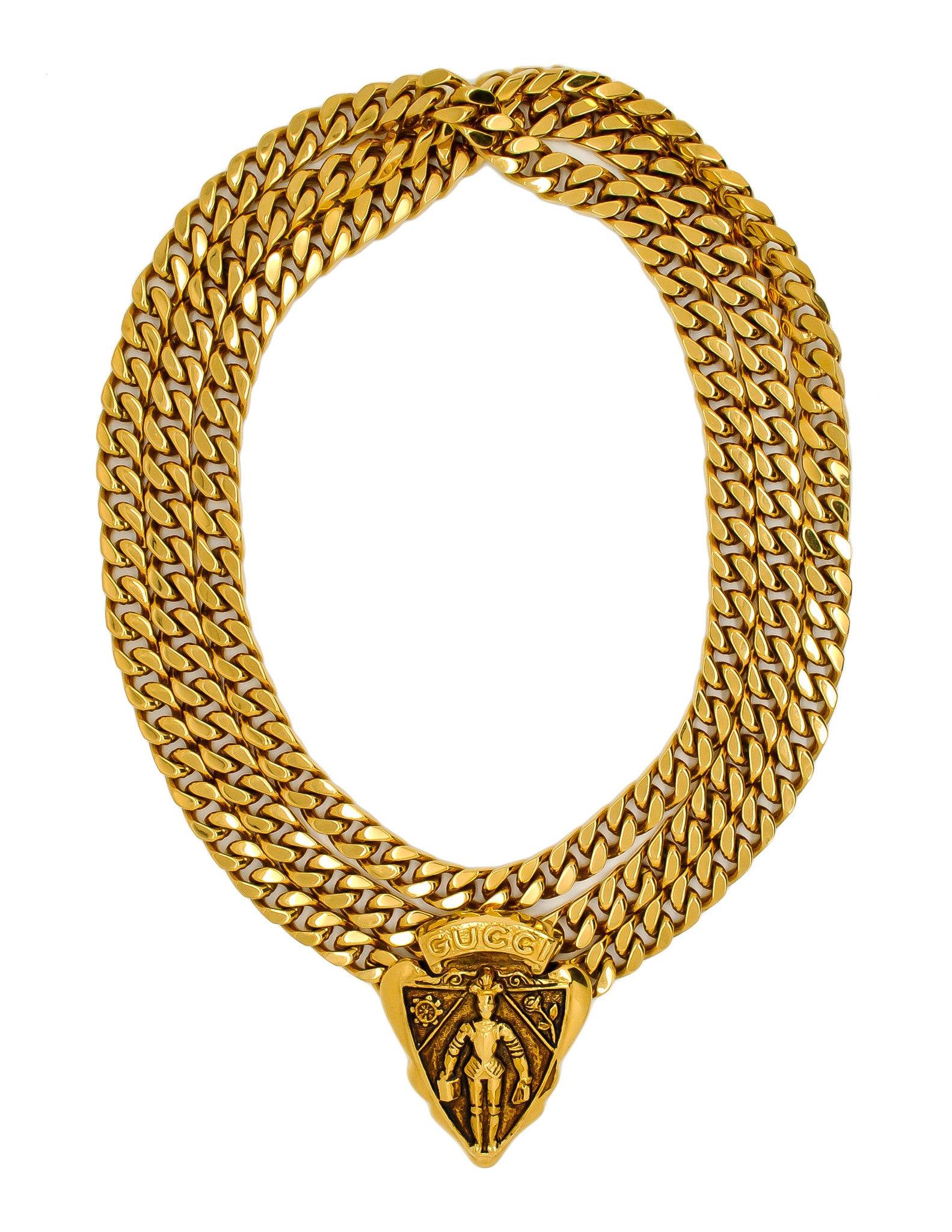 Gucci Vintage Gold Crest Chain Necklace Belt - Amarcord Vintage Fashion  - 1