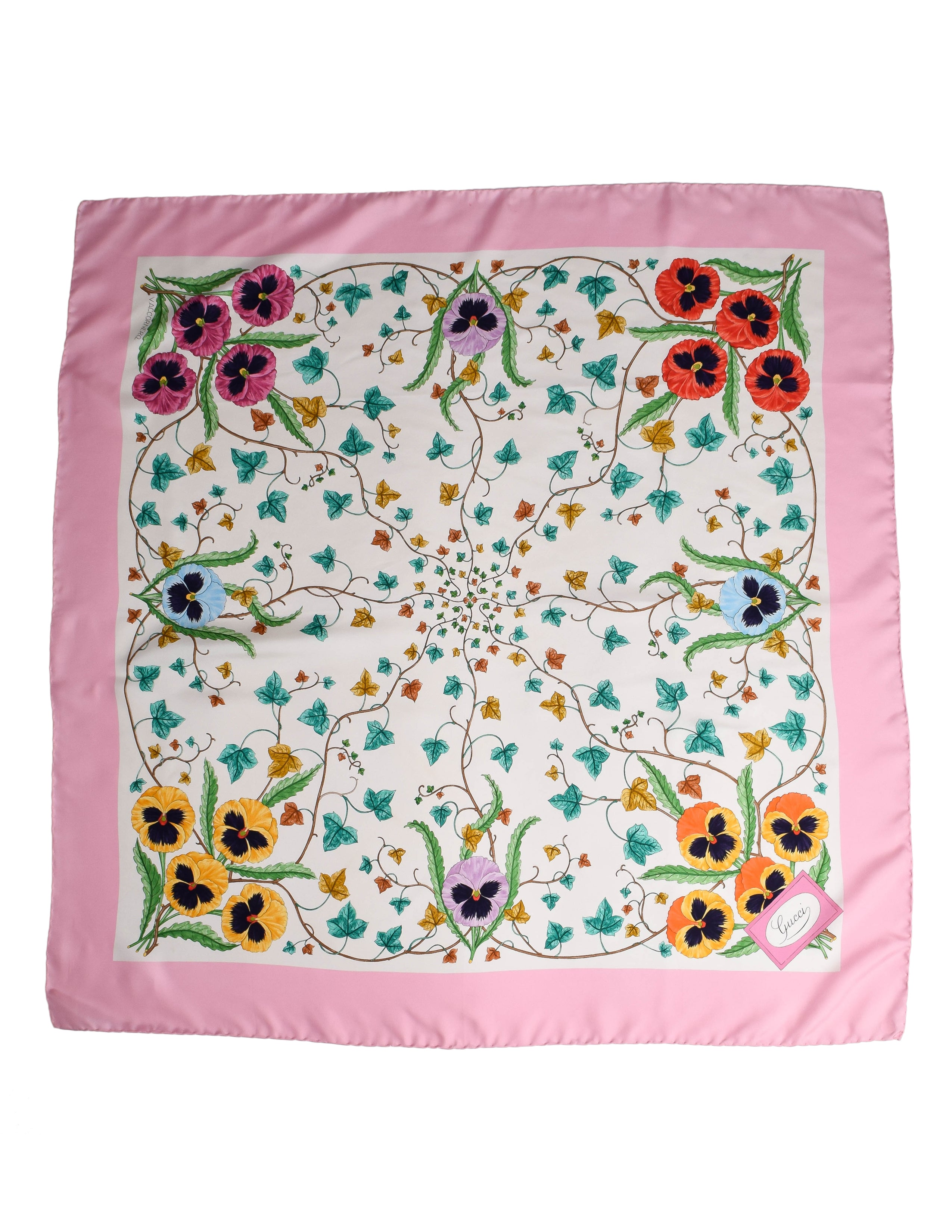 Gucci Vintage Iconic Flora Floral Silk Scarf