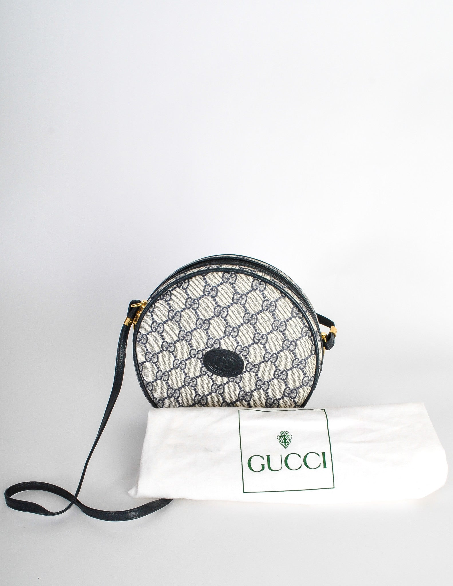 151ca5ac0f1c Gucci Vintage Round Navy Blue Monogram Leather Bag - Amarcord Vintage  Fashion - 7