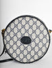 Gucci Vintage Round Navy Blue Monogram Leather Bag - Amarcord Vintage Fashion  - 5