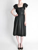 Halston Vintage Black Linen Button Up Dress - Amarcord Vintage Fashion  - 3