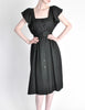 Halston Vintage Black Linen Button Up Dress - Amarcord Vintage Fashion  - 2