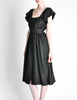 Halston Vintage Black Linen Button Up Dress - Amarcord Vintage Fashion  - 4