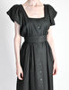 Halston Vintage Black Linen Button Up Dress - Amarcord Vintage Fashion  - 5