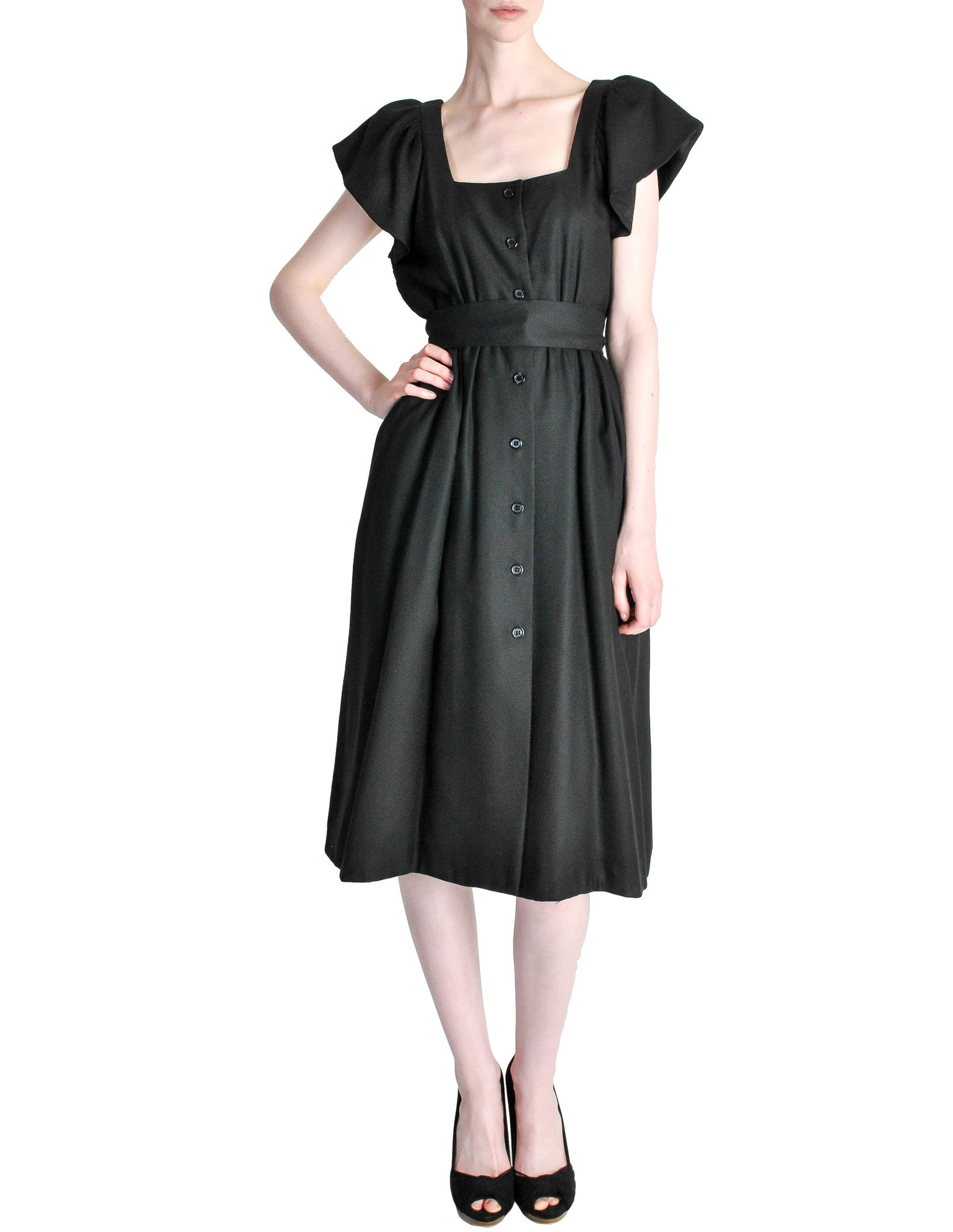 Halston Vintage Black Linen Button Up Dress - Amarcord Vintage Fashion  - 1