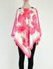 Vintage 1970s Pink & White Silk Butterfly Print Poncho - Amarcord Vintage Fashion  - 5
