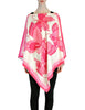 Vintage 1970s Pink & White Silk Butterfly Print Poncho - Amarcord Vintage Fashion  - 1