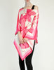 Vintage 1970s Pink & White Silk Butterfly Print Poncho - Amarcord Vintage Fashion  - 3