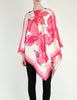 Vintage 1970s Pink & White Silk Butterfly Print Poncho - Amarcord Vintage Fashion  - 7